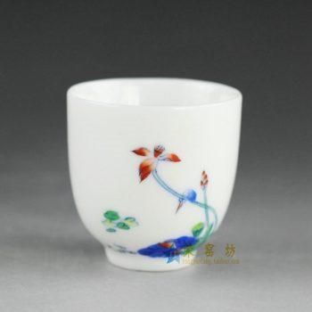 14AS56 手绘青花斗彩荷莲图茶杯 品茗杯