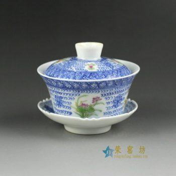 14BU48手绘青花斗彩花卉图盖碗 三才碗 泡茶杯