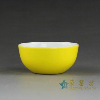14FS36颜色釉黄色茶碗 汤碗