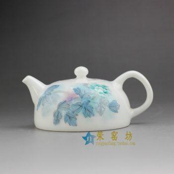 RYNO14 7708手绘釉下彩花卉图茶壶 泡茶壶