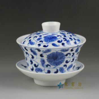 14ZDW02手绘青花缠枝花卉盖碗 三才碗 泡茶杯