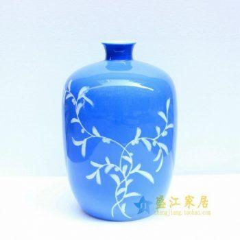 2u01手绘釉下彩花草图花瓶 冬瓜瓶