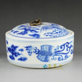 14AS142 手绘青花凤凰展翅图茶叶罐 盖罐 储物罐