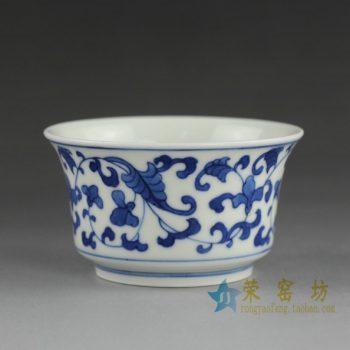 14BS3 手绘青花缠枝花卉茶杯 品茗杯 功夫茶具