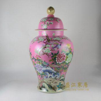 RYHV35手绘粉彩锦上添花图将军罐 盖罐 储物罐