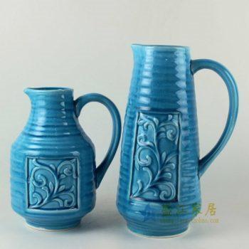 RZAN18 0884手工颜色釉雕刻花纹屏画手柄无盖茶壶