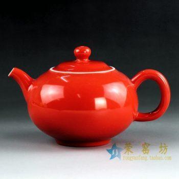 14CS43 手工颜色釉红色茶壶 泡茶壶