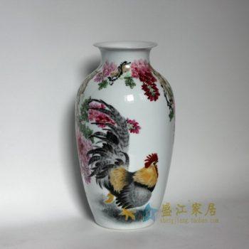 RZDK01 手绘粉彩雄鸡欢叫图冬瓜瓶 花瓶