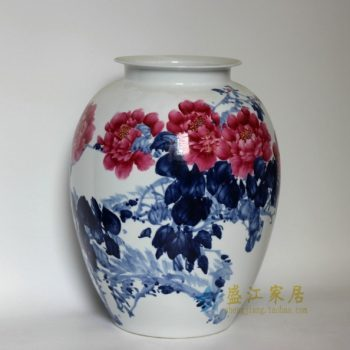 RZDL01青花斗彩手绘花卉图瓷坛 花瓶