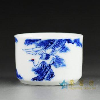 14DR84 4050手绘松鹤延年图茶杯 品茗杯 功夫茶具