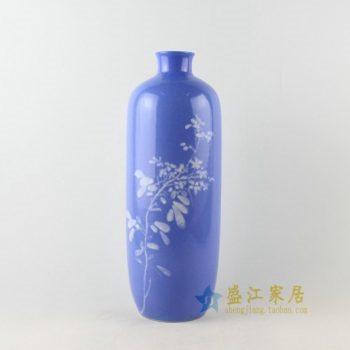 2u02手绘釉下彩花卉图花瓶 棒槌瓶