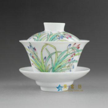 14NY12 手绘粉彩水仙花图盖碗 泡茶碗