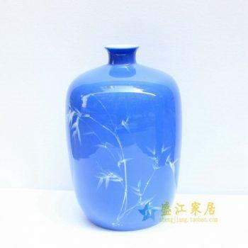2u01-1手绘釉下彩水竹图冬瓜瓶 花瓶