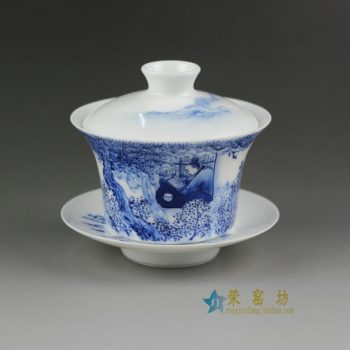 14FU12手绘青花乡村人家图盖碗 三才碗 泡茶杯