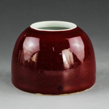 14EI05颜色釉红色马蹄杯 茶杯 茶碗