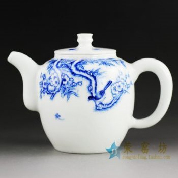 14DR61手绘青花花鸟图茶壶 泡茶壶