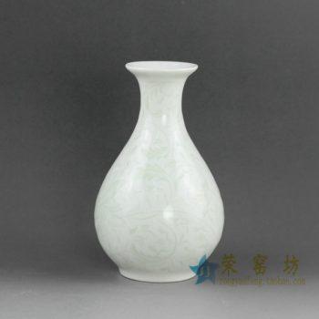 14AA32手绘釉下彩玉壶春花瓶 花插
