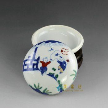 14AS128手绘青花斗彩婴戏图印泥盒 文房用具