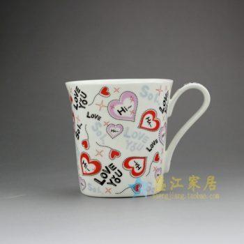 RYDY25-D 手绘粉彩心形图浪漫情感画茶杯 品茗杯 咖啡杯