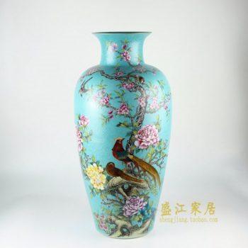 RYHV34 手绘粉彩锦上添花图花瓶 冬瓜瓶
