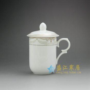 RYDY32-D 手绘金边圈纹茶杯 带盖手柄茶杯 品茗杯
