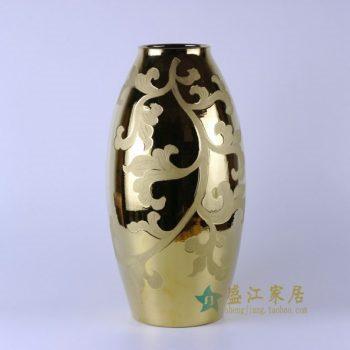 RYNQ169 颜色釉金色刻纹花卉莲子瓶 花瓶