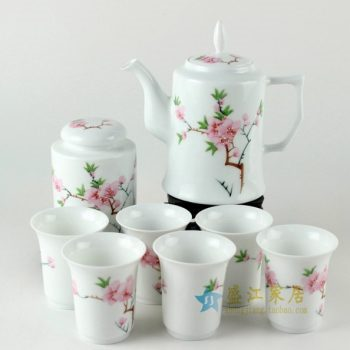 RYDI78 手绘粉彩水点桃花茶具套装