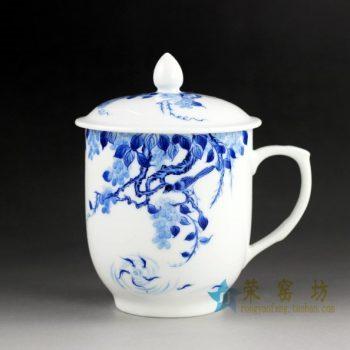 14DR147 手绘青花花鸟游鱼图茶杯 带盖品茗杯 泡茶杯