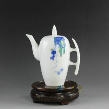 14AS132手绘青花斗彩丝瓜图茶壶 茶具