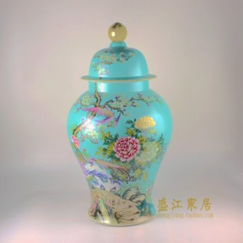 RYHV35 手绘粉彩锦上添花图将军罐 盖罐 储物罐
