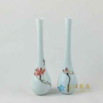 RZAN12 手绘粉彩荷莲图花瓶 花插