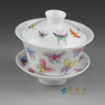 14NY14手绘粉彩蝴蝶纷飞图盖碗 三才碗 泡茶杯