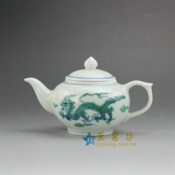 RYYM12 7656手绘粉彩腾龙图茶壶 泡茶壶