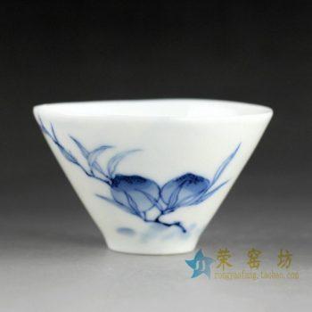 14DR08手绘青花果枝图斗笠杯 茶杯 品茗杯