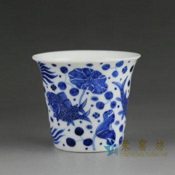 14DR99手绘青花连年有余图茶杯 品茗杯 功夫茶具