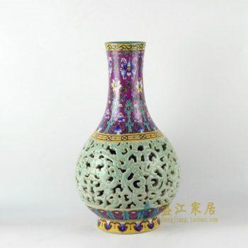 RYLW14 手绘粉彩镂空花卉图花瓶 花插
