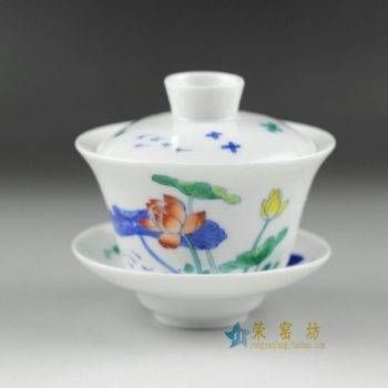 14AS64手绘青花斗彩荷莲图盖碗 三才碗 泡茶杯