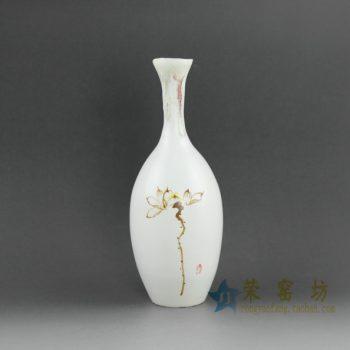 RZEA01手绘亚光釉下彩荷莲图花瓶 花插
