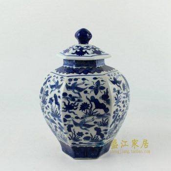RYJF56手绘青花鹭栖荷莲图茶叶罐 盖罐 储物罐