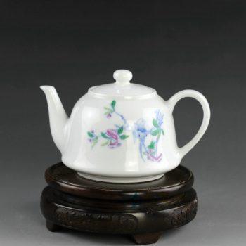 14AS120 手绘青花斗彩花卉图茶壶 茶具