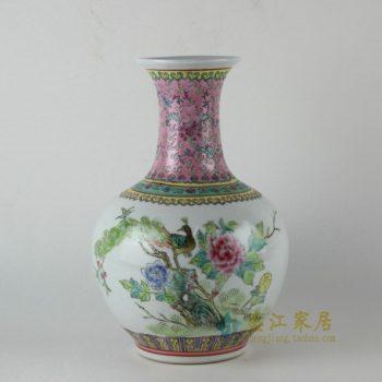 RZBU04手绘粉彩锦上添花图花瓶 花插