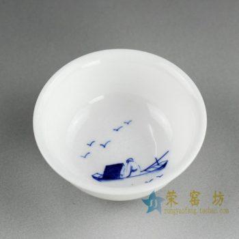 14DR80 4024手绘青花小船荡悠悠图茶碗 汤碗