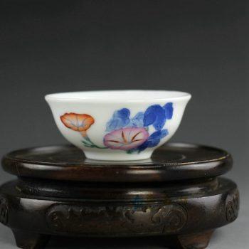 14AS144 手绘青花斗彩茶碗 汤碗 品茗杯