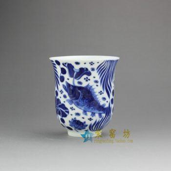 14DR149-03手绘青花连年有余图茶杯 品茗杯 咖啡杯