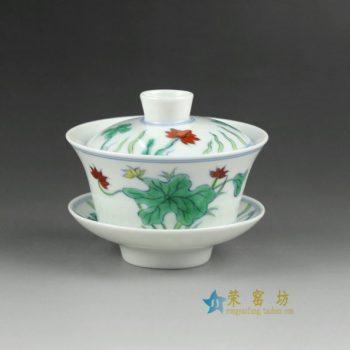 14YM05手绘粉彩花卉图盖碗 三才碗 泡茶杯