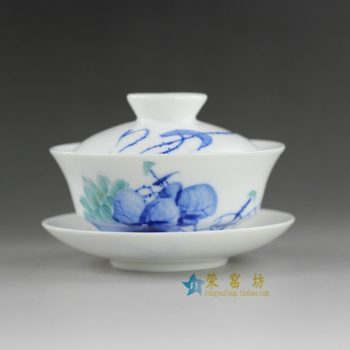 14H305 手绘青花斗彩荷莲图盖碗 泡茶碗