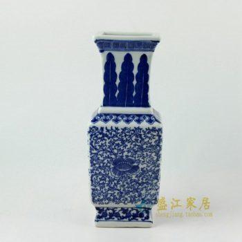 RYJF55手绘青花缠枝花卉花瓶 花插