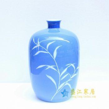2u01-3手绘青花花草图冬瓜瓶 花瓶