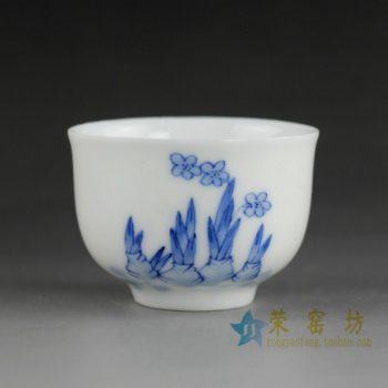 14DR06 手绘青花嫩笋图茶杯 品茗杯 咖啡杯 功夫茶杯