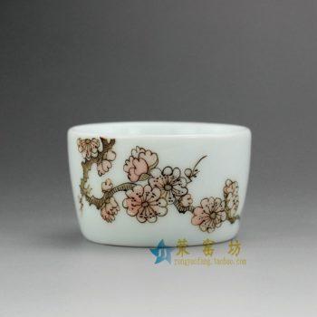 RZEL02 7893手绘粉彩花枝图茶杯 品茗杯 功夫茶杯